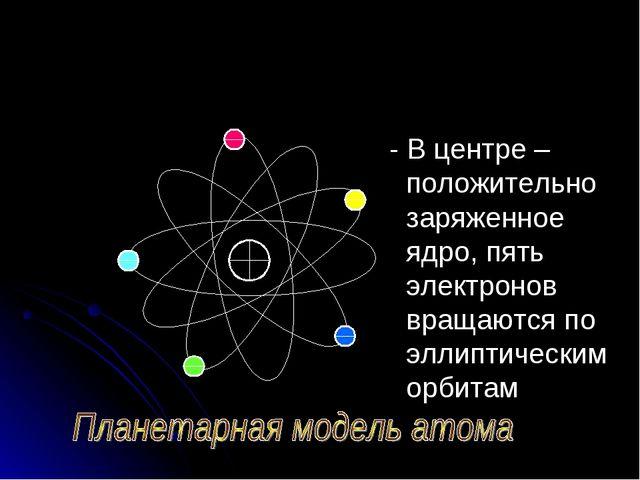 - В центре – положительно заряженное ядро, пять электронов вращаются по элли...