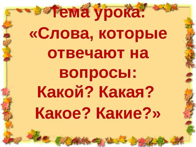 Тема урока: «Слова, которые отвечают на вопросы: Какой? Какая? Какое? Какие?»