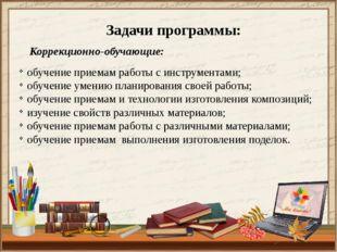 Задачи программы: Коррекционно-обучающие: обучение приемам работы с инструмен