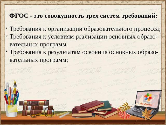 ФГОС - это совокупность трех систем требований: Требования к организации обра...