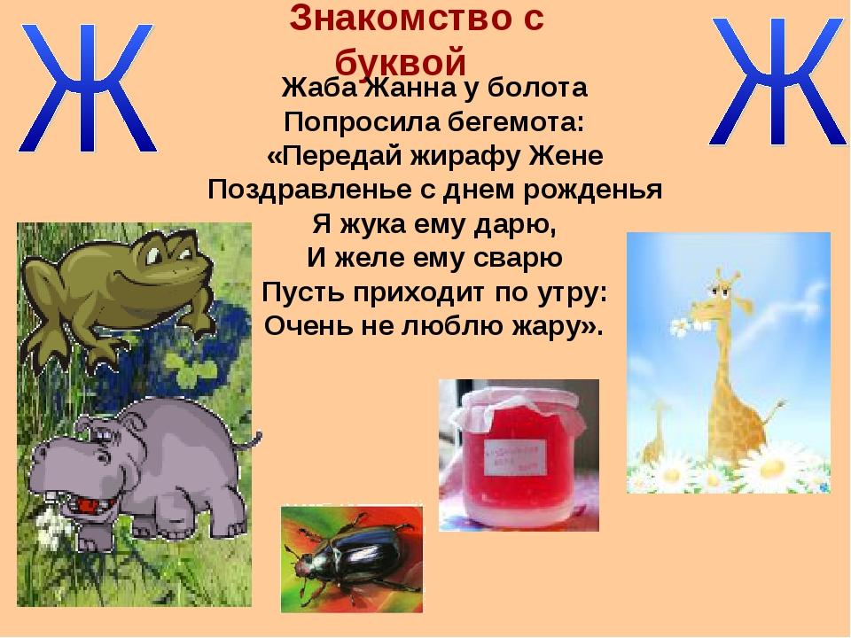 Знакомство с буквой Жаба Жанна у болота Попросила бегемота: «Передай жирафу Ж...