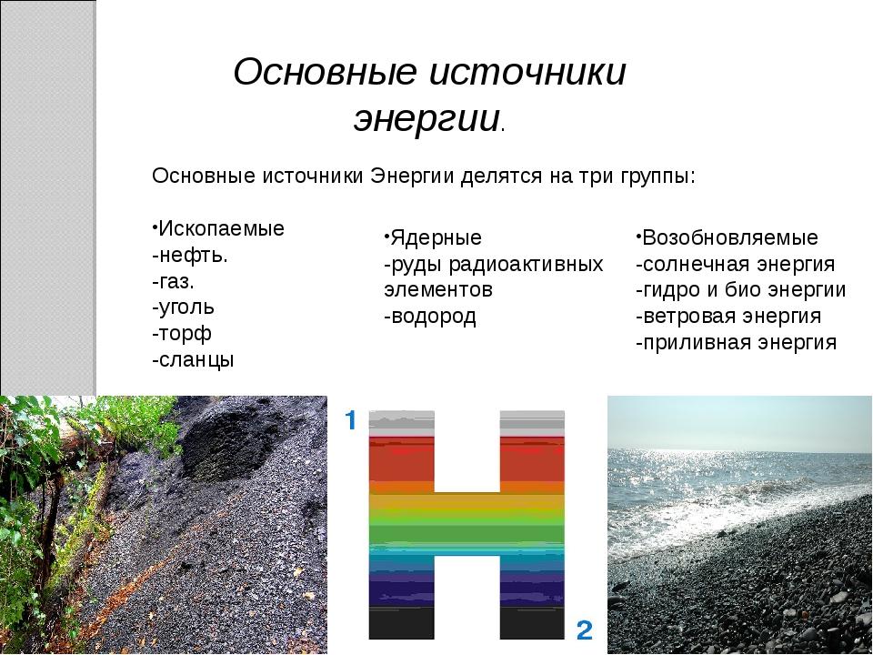 Основные источники энергии. Основные источники Энергии делятся на три группы:...