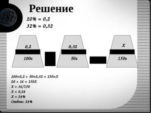 20% = 0,2 32% = 0,32 Решение 0,2 0,32 Х 100г 50г 150г 100×0,2 + 50×0,32 = 150