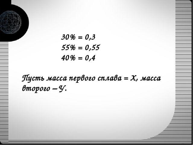30% = 0,3 55% = 0,55 40% = 0,4 Пусть масса первого сплава = Х, масса второго...