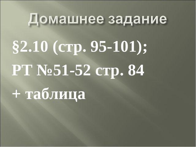 §2.10 (стр. 95-101); РТ №51-52 стр. 84 + таблица
