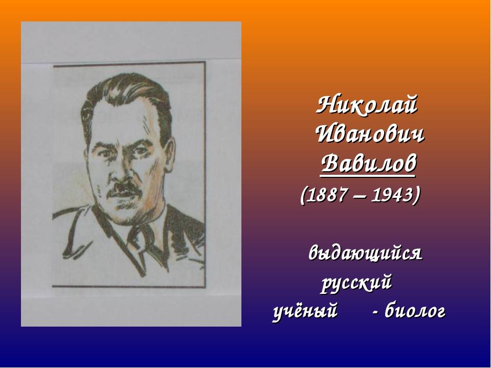 Николай Иванович Вавилов (1887 – 1943) выдающийся русский учёный- биолог