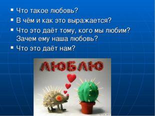 Что такое любовь? В чём и как это выражается? Что это даёт тому, кого мы люби