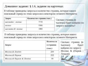 Домашнее задание: § 1.6, задание на карточках В таблице приведены запросы и к