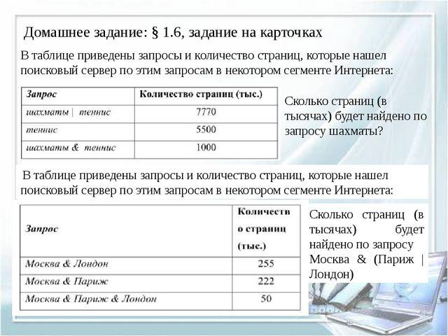 Домашнее задание: § 1.6, задание на карточках В таблице приведены запросы и к...