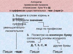 Алгоритм применения правила «Написание букв Ч и Щ в суффиксах существительных