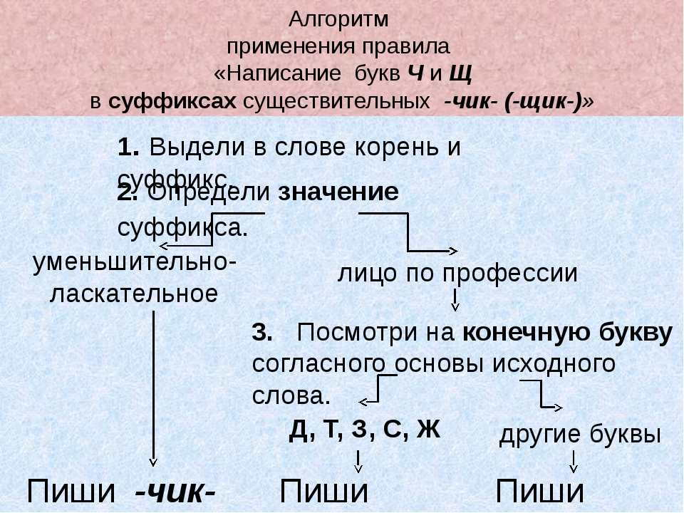 Алгоритм применения правила «Написание букв Ч и Щ в суффиксах существительных...