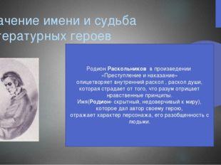 Значение имени и судьба литературных героев Родион Раскольников в произведени