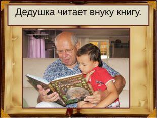 Дедушка читает внуку книгу.