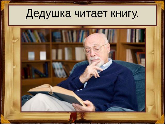 Дедушка читает книгу.