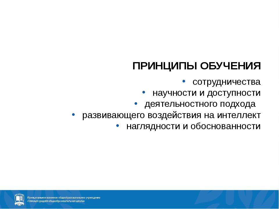ПРИНЦИПЫ ОБУЧЕНИЯ сотрудничества научности и доступности деятельностного подх...
