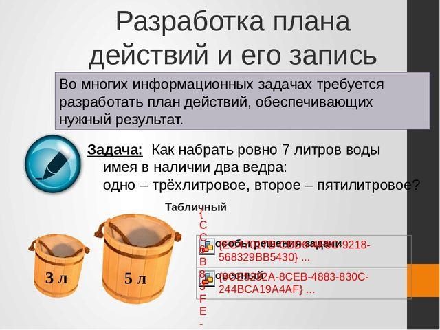 Разработка плана действий и его запись Во многих информационных задачах требу...