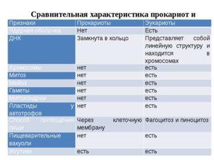 Сравнительная характеристика прокариот и эукариот Признаки Прокариоты Эукари
