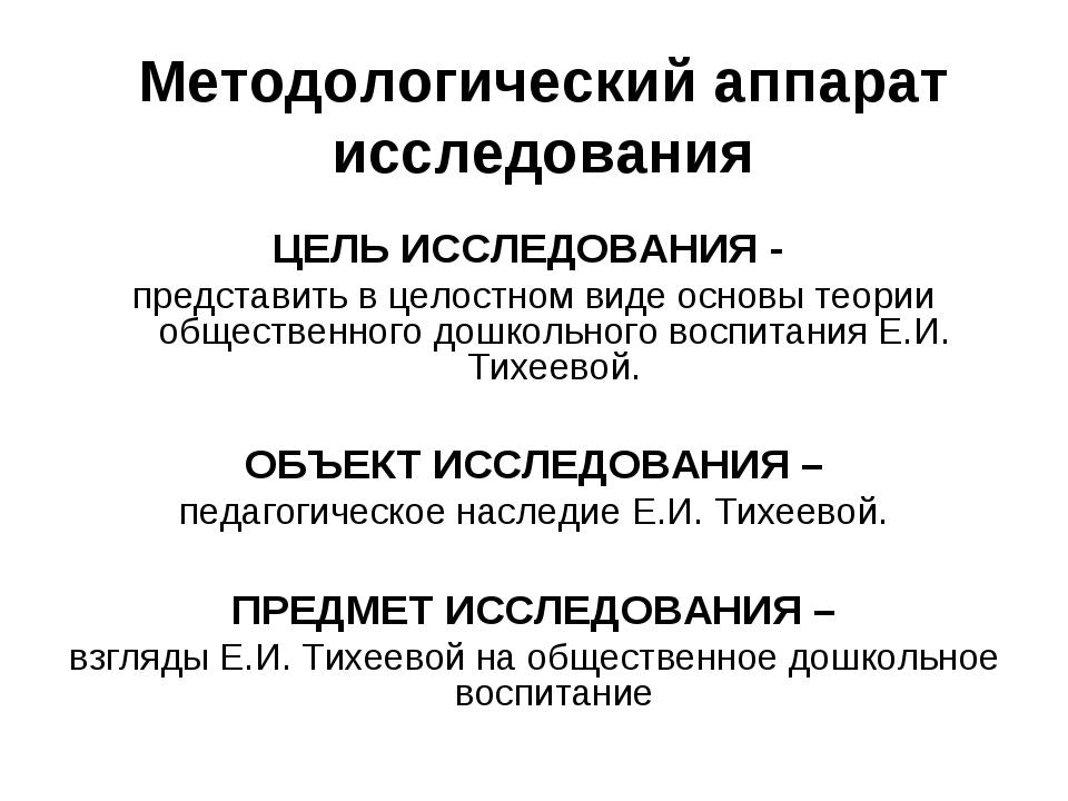 Методологический аппарат исследования ЦЕЛЬ ИССЛЕДОВАНИЯ - представить в целос...