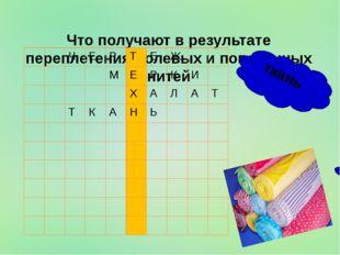 Что получают в результате переплетения долевых и поперечных нитей ткань Ч Е