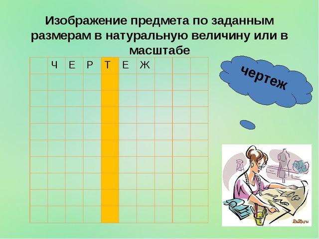 чертеж Изображение предмета по заданным размерам в натуральную величину или...