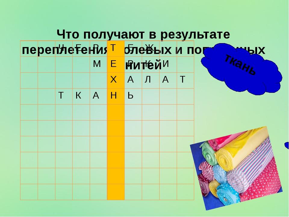 Что получают в результате переплетения долевых и поперечных нитей ткань Ч Е...