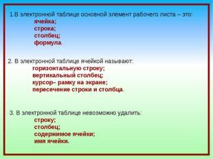 1.В электронной таблице основной элемент рабочего листа – это: ячейка; строка