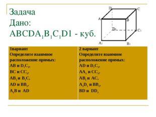 Задача Дано: ABCDA1B1C1D1 - куб. 1вариант Определите взаимное расположение пр