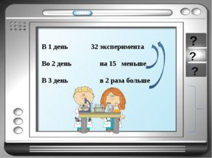 В 1 день 32 эксперимента Во 2 день на 15 меньше В 3 день в 2 раза больше ? ? ?