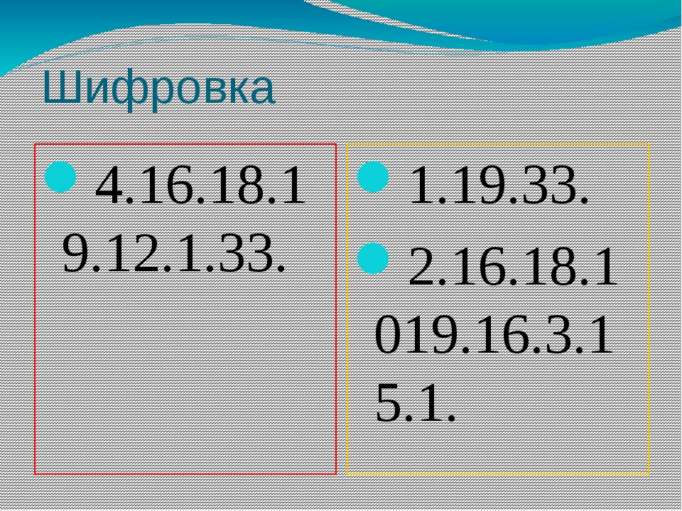 Шифровка 4.16.18.19.12.1.33. 1.19.33. 2.16.18.1019.16.3.15.1.