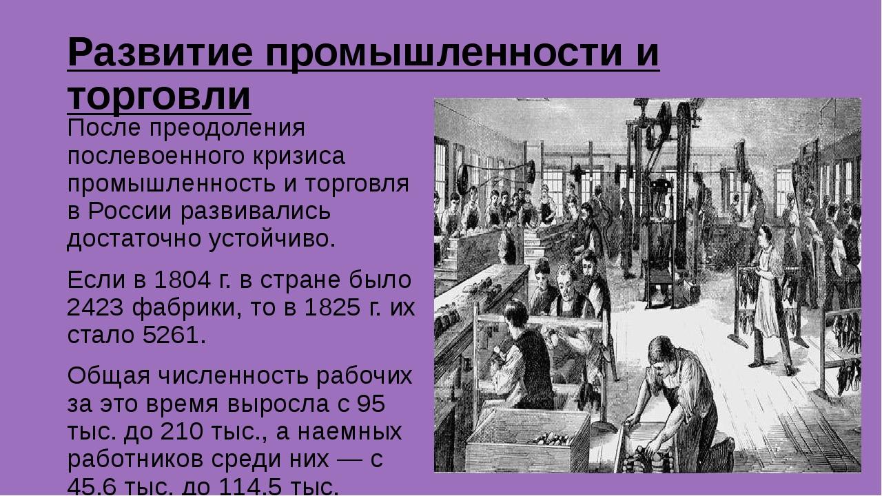 Развитие промышленности и торговли После преодоления послевоенного кризиса пр...
