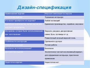 Дизайн-спецификация Наименование изделия Морская композиция на зеркале Назнач