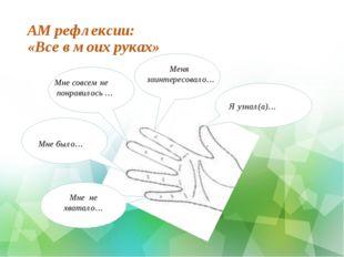 АМ рефлексии: «Все в моих руках» нааНада Я узнал(а)… нааНадНа Меня заинтересо