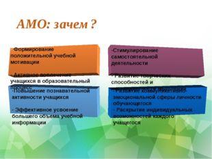 АМО: зачем? Повышение познавательной активности учащихся Эффективное усвоение