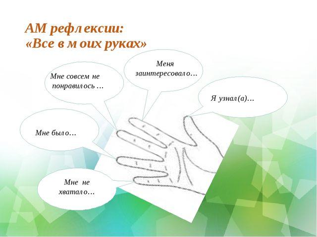 АМ рефлексии: «Все в моих руках» нааНада Я узнал(а)… нааНадНа Меня заинтересо...