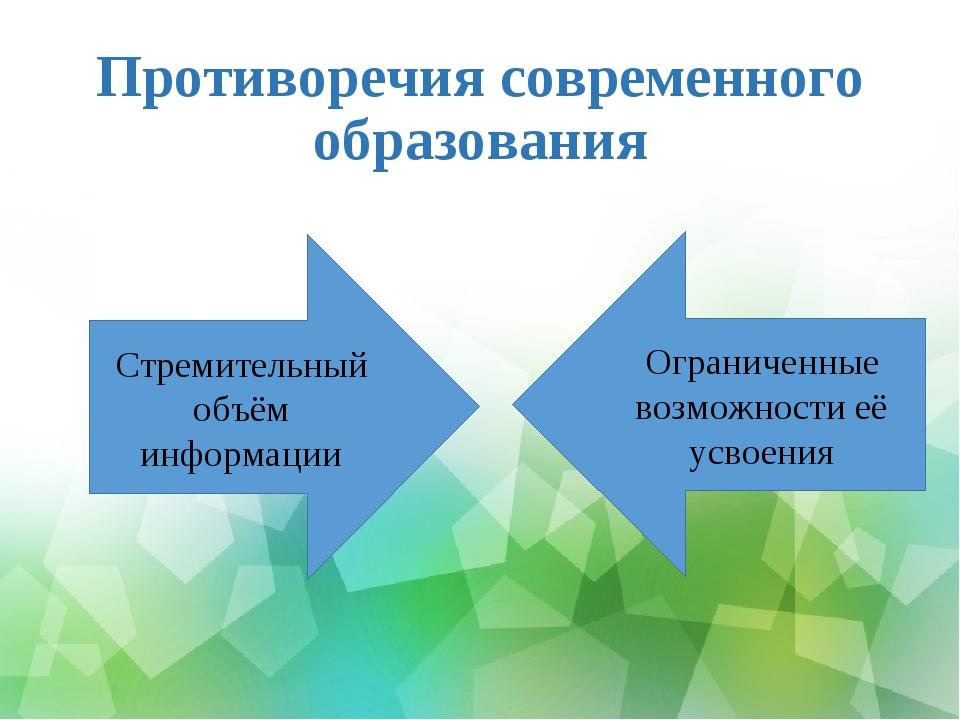 Противоречия современного образования Стремительный объём информации Ограниче...