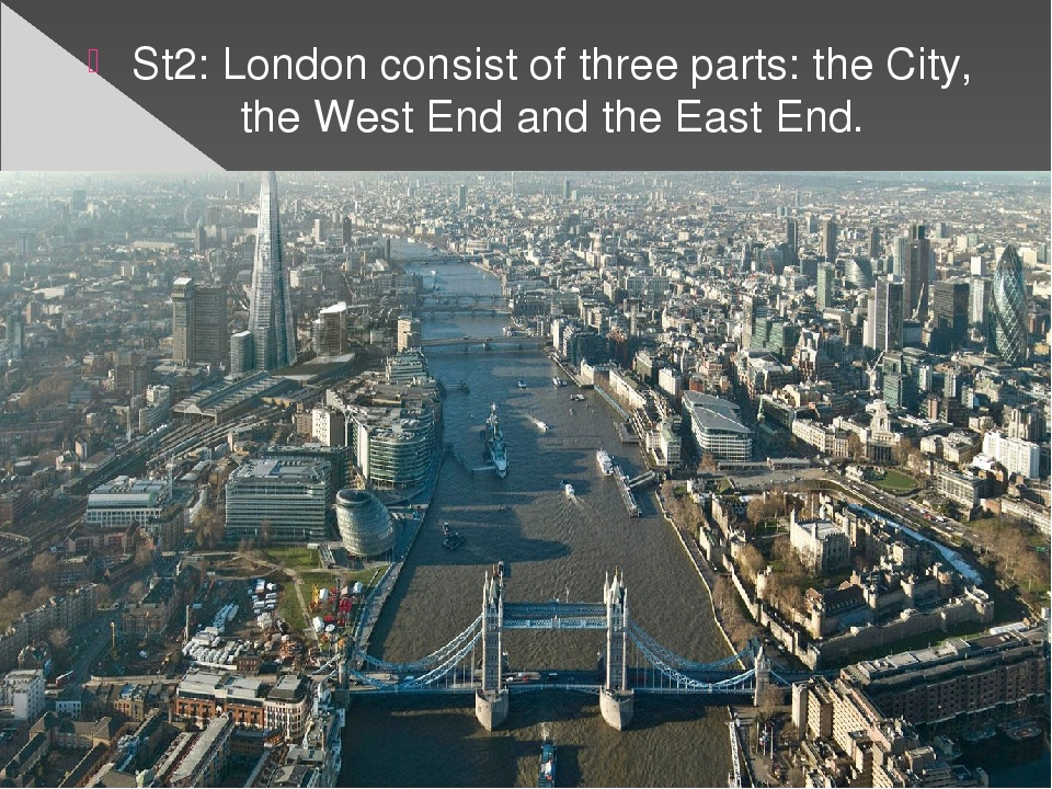 St2: London consist of three parts: the City, the West End and the East End.