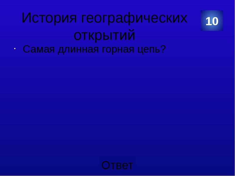 История географических открытий Ниагарский. 20 Категория Ваш ответ