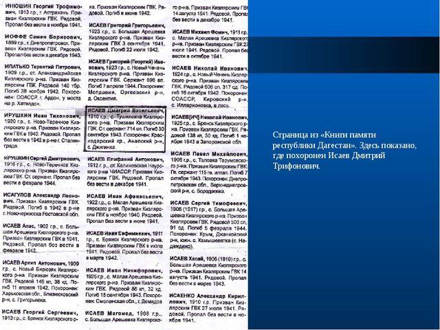 Страница из «Книги памяти республики Дагестан». Здесь показано, где похоронен...