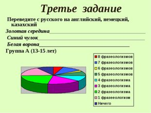 Третье задание Переведите с русского на английский, немецкий, казахский Золот