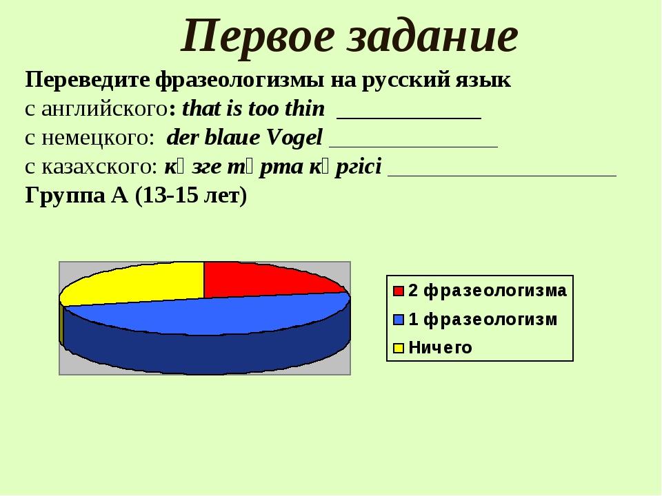 Первое задание Переведите фразеологизмы на русский язык с английского: thаt i...