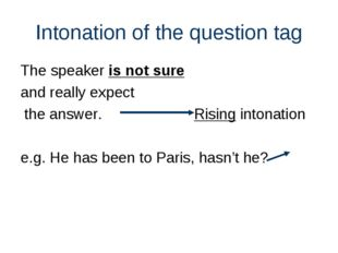 Intonation of the question tag The speaker is not sure and really expect the