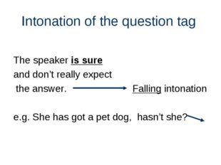 Intonation of the question tag The speaker is sure and don't really expect th
