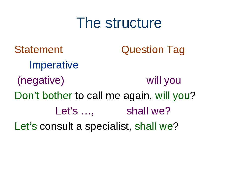 The structure Statement Question Tag Imperative (negative) will you Don't bot...