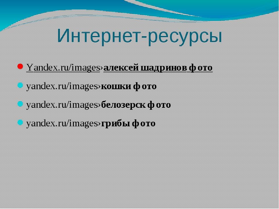 Интернет-ресурсы Yandex.ru/images›алексей шадринов фото yandex.ru/images›кошк...