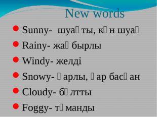 New words Sunny- шуақты, күн шуақ Rainy- жаңбырлы Windy- желді Snowy- қарлы,