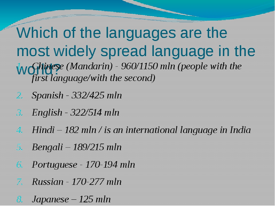 Which of the languages are the most widely spread language in the world? Chin...