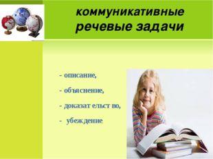 коммуникативные речевые задачи - описание, - объяснение, - доказательство, -
