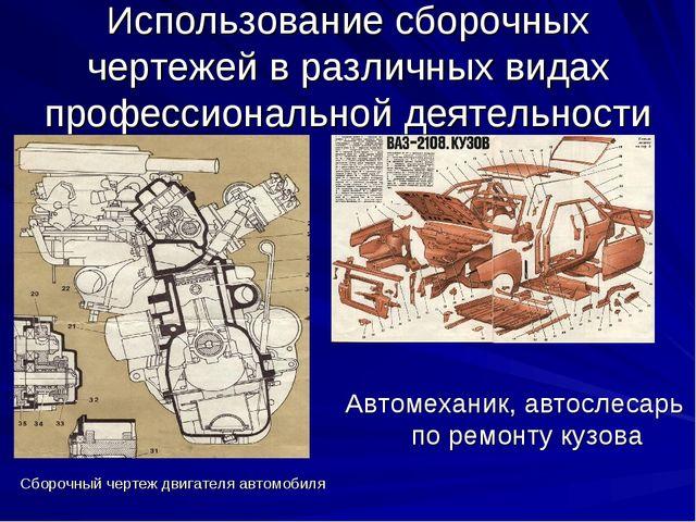 Сборочный чертеж двигателя автомобиля Использование сборочных чертежей в разл...