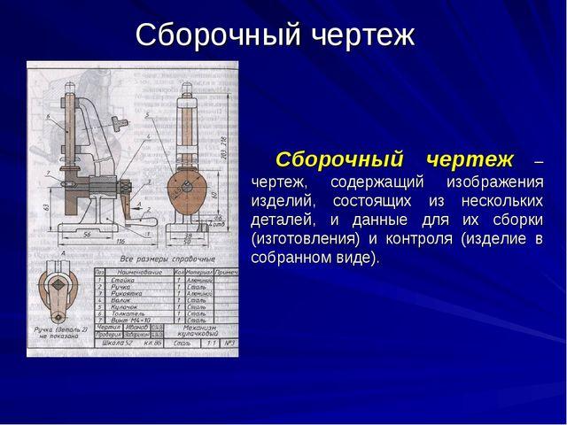 Сборочный чертеж Сборочный чертеж – чертеж, содержащий изображения изделий, с...