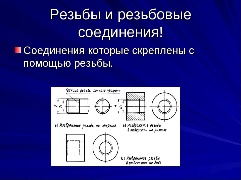 Резьбы и резьбовые соединения! Соединения которые скреплены с помощью резьбы.